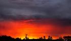 lever de soleil rouge dans les landes