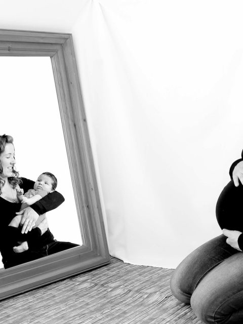 avant après grossesse miroir photographe