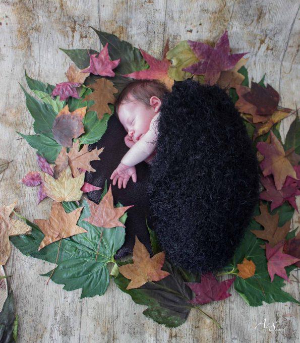 bebe dans des feuilles