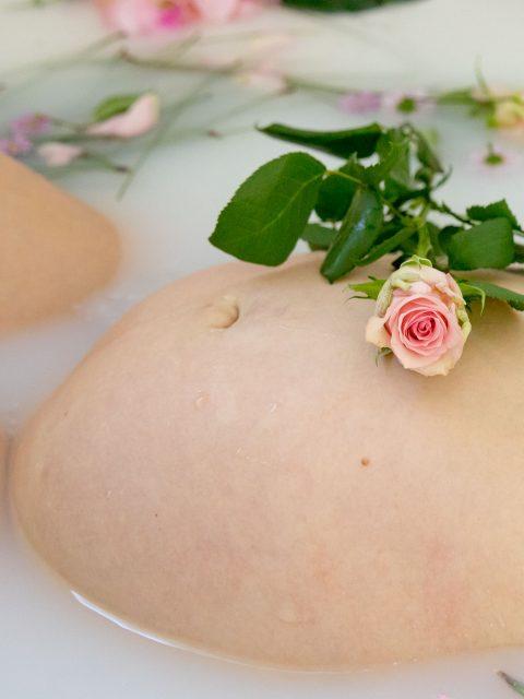 rose sur ventre de grossesse