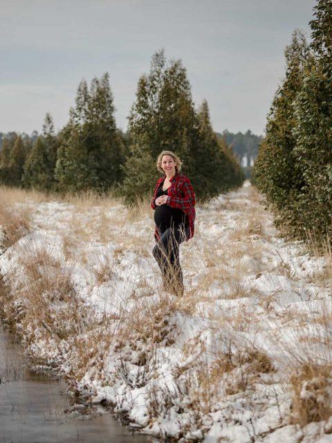 grossesse champs neige