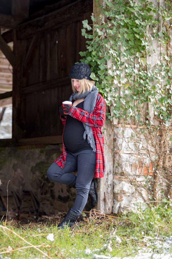 femme enceinte neige