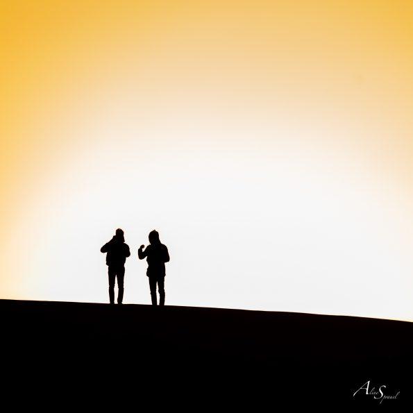 silhouette contre jour dune