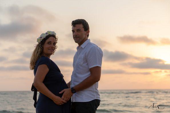 photo Grossesse couple plage landes